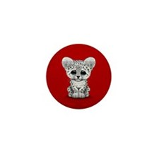 Cute Baby Snow Leopard Cub on Red Mini Button