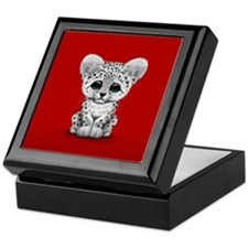 Cute Baby Snow Leopard Cub on Red Keepsake Box