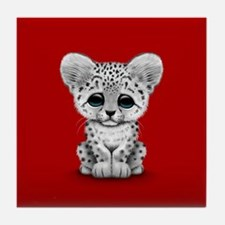 Cute Baby Snow Leopard Cub on Red Tile Coaster