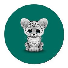 Cute Baby Snow Leopard Cub on Teal Blue Round Car