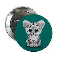 "Cute Baby Snow Leopard Cub on Teal Blue 2.25"" Butt"