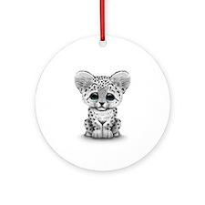 Cute Baby Snow Leopard Cub on White Ornament (Roun