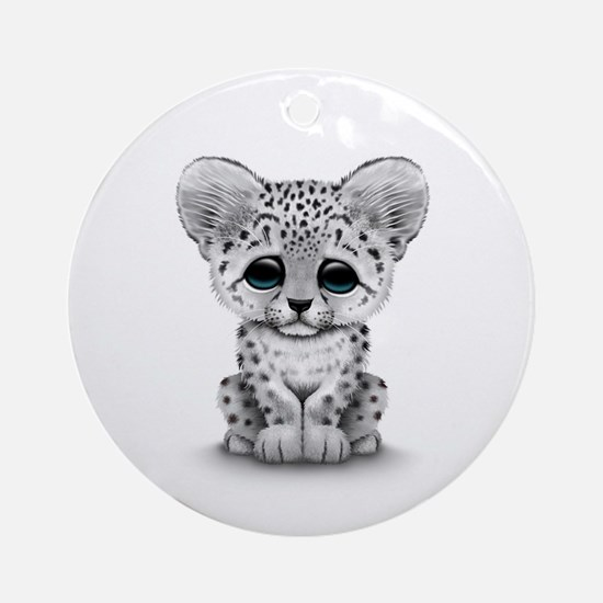 Cute Baby Snow Leopard Cub on White Ornament (Roun
