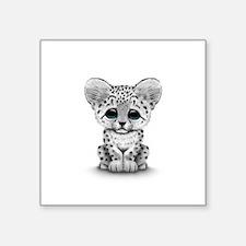 Cute Baby Snow Leopard Cub on White Sticker