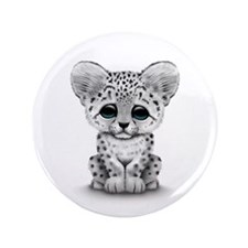 """Cute Baby Snow Leopard Cub on White 3.5"""" Button"""
