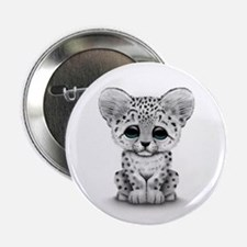 "Cute Baby Snow Leopard Cub on White 2.25"" Button"