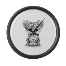Cute Baby Snow Leopard Cub on White Large Wall Clo