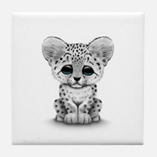 Cute Baby Snow Leopard Cub on White Tile Coaster