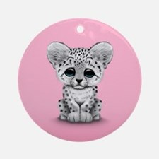 Cute Baby Snow Leopard Cub on Pink Ornament (Round