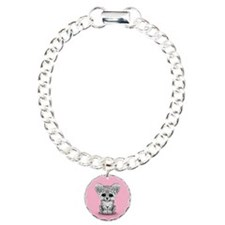 Cute Baby Snow Leopard Cub on Pink Bracelet