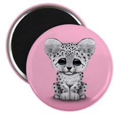 Cute Baby Snow Leopard Cub on Pink Magnets