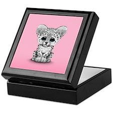 Cute Baby Snow Leopard Cub on Pink Keepsake Box