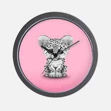 Cute Baby Snow Leopard Cub on Pink Wall Clock
