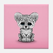 Cute Baby Snow Leopard Cub on Pink Tile Coaster