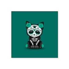 Cute Teal Day of the Dead Kitten Cat Sticker