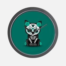 Cute Teal Day of the Dead Kitten Cat Wall Clock