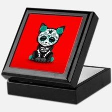 Cute Teal Day of the Dead Kitten Cat on Red Keepsa