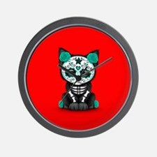 Cute Teal Day of the Dead Kitten Cat on Red Wall C