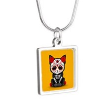 Cute Red Day of the Dead Kitten Cat on Yellow Neck