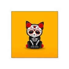 Cute Red Day of the Dead Kitten Cat on Yellow Stic