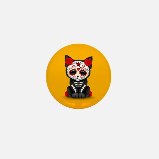 Cute Red Day of the Dead Kitten Cat on Yellow Mini