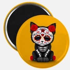 Cute Red Day of the Dead Kitten Cat on Yellow Magn