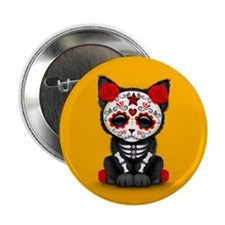 Cute Red Day of the Dead Kitten Cat on Yellow 2.25