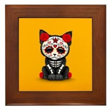Cute Red Day of the Dead Kitten Cat on Yellow Fram