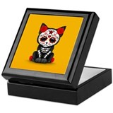 Sugar skull cat Keepsake Boxes