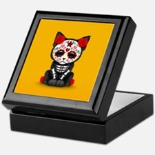 Cute Red Day of the Dead Kitten Cat on Yellow Keep