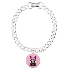 Cute Pink Day of the Dead Kitten Cat Bracelet