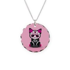 Cute Pink Day of the Dead Kitten Cat Necklace