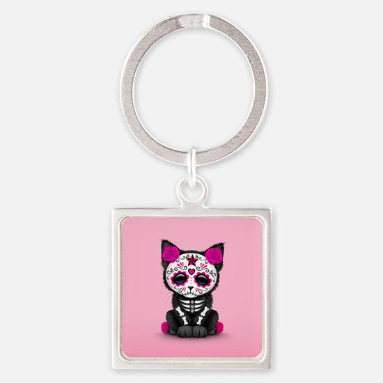 Cute Pink Day of the Dead Kitten Cat Keychains