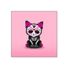 Cute Pink Day of the Dead Kitten Cat Sticker