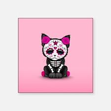 Cute Pink Day of the Dead Kitten Cat Sticker