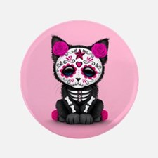 """Cute Pink Day of the Dead Kitten Cat 3.5"""" Button"""