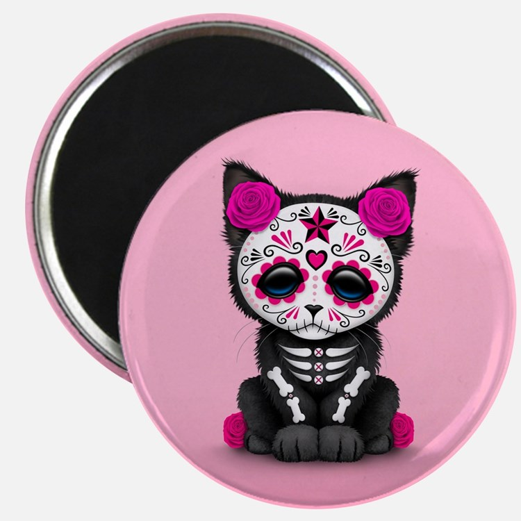 Cute Pink Day of the Dead Kitten Cat Magnets