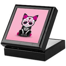 Cute Pink Day of the Dead Kitten Cat Keepsake Box