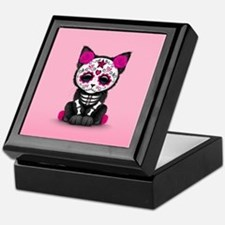 Cute Pink Day of the Dead Kitten Cat Keepsake Box