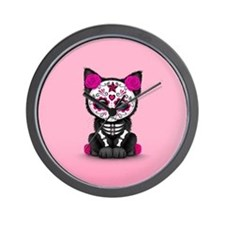 Cute Pink Day of the Dead Kitten Cat Wall Clock