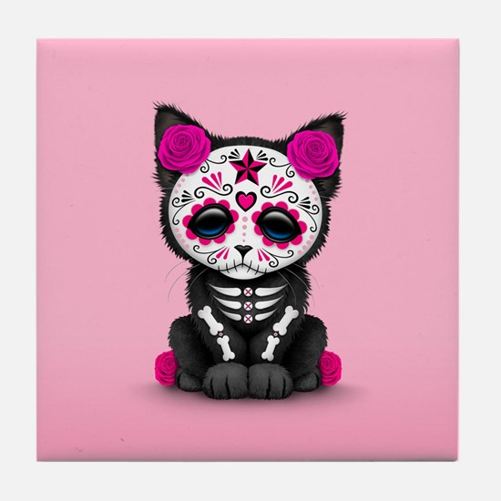 Cute Pink Day of the Dead Kitten Cat Tile Coaster