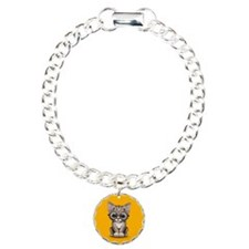 Cute Tabby Kitten with Eye Glasses on Yellow Bracelet