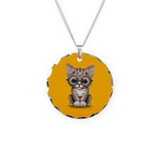 Cute Tabby Kitten with Eye Glasses on Yellow Neckl
