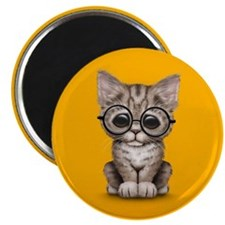 Cute Tabby Kitten with Eye Glasses on Yellow Magne