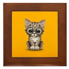 Cute Tabby Kitten with Eye Glasses on Yellow Frame