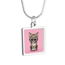 Cute Tabby Kitten with Eye Glasses on Pink Necklac