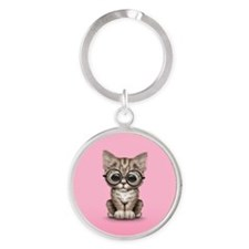 Cute Tabby Kitten with Eye Glasses on Pink Keychai