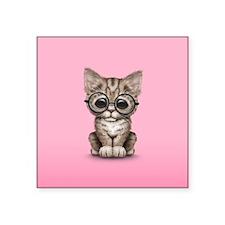 Cute Tabby Kitten with Eye Glasses on Pink Sticker