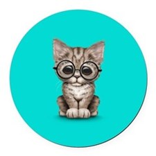 Cute Tabby Kitten with Eye Glasses on Blue Round C