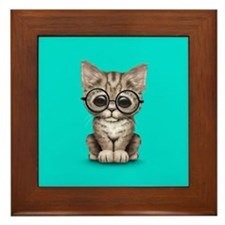 Cute Tabby Kitten with Eye Glasses on Blue Framed